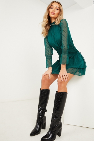 Bottle Green Chiffon Shirred Dress